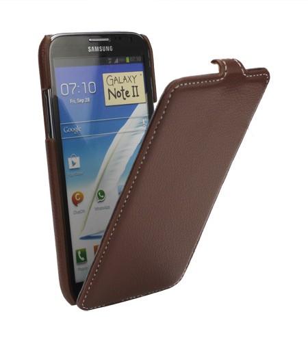 Coque Samsung Galaxy Note II Litchi Rabattable en Cuir Marron