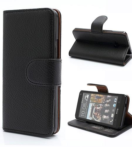 Coque HTC One M7 Cuir Noir avec fermeture magnétique