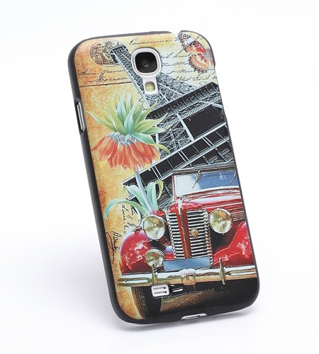 Coque Samsung Galaxy S IV Voiture rétro sous la Tour Eiffel