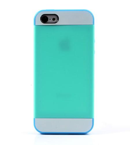 Coque iPhone 5C Silicone Bicolore - Cyan/Rebords Bleu
