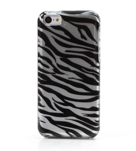Coque iPhone 5C Rayures Zèbre colorées - Argenté/Noir