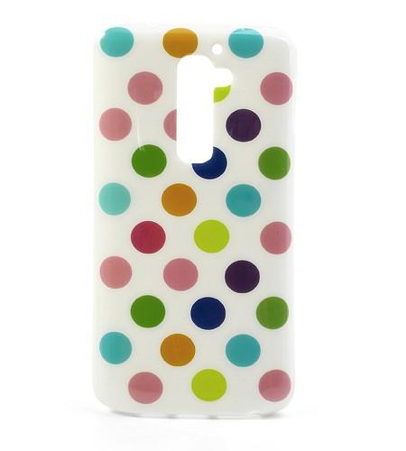 Coque LG G2 à Pois - Blanc/Pois Multicolore