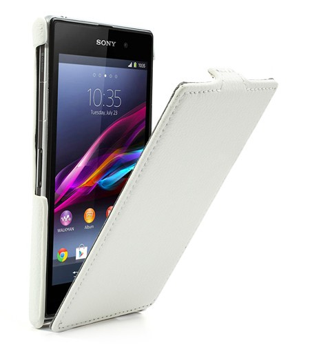 Coque Sony Xperia Z1 Litchi Rabattable - Blanc