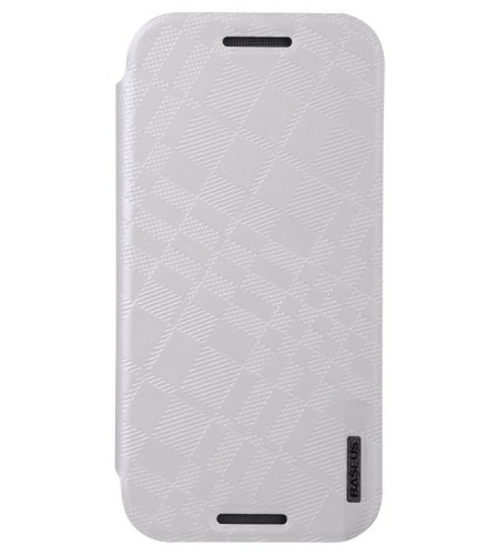 Coque HTC One M8 Rabattable Brocade BASEUS - Blanc